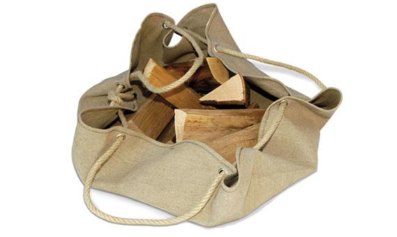 Accessoire sac porte-bûches en lin